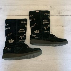 Juicy Couture Black Suede Boots Fur Lined Size 7.5